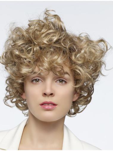 "Flexibility Blonde Curly 14"" Human Hair Wigs"