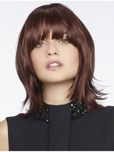 Natural With Bangs Auburn Capless Synthetic Wigs