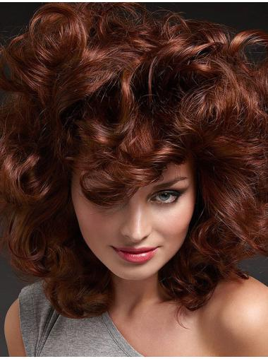 "Comfortable Curly 16"" Auburn 100% Hand-tied Wigs"