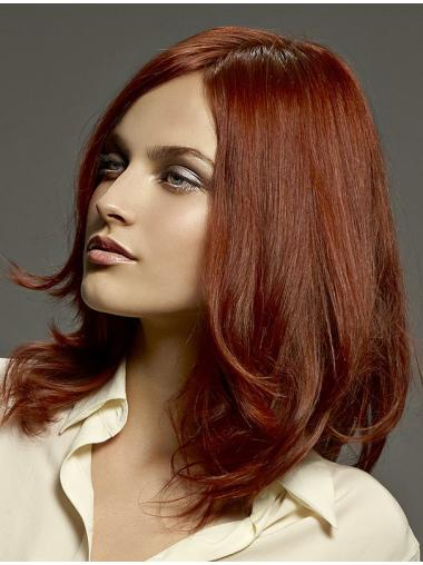 Layered Red Straight Monofilament Long Wigs