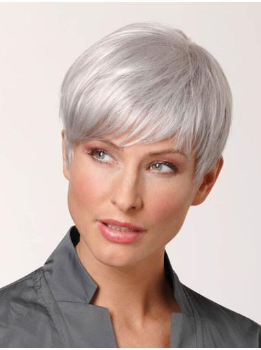 Remy Human Hair Cropped 100% Hand-tied Grey Wigs