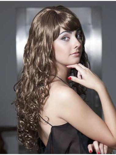 With Bangs Brown Curly African American Wigs