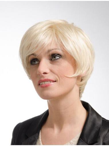 Layered Blonde Short Straight Monofilament Wigs