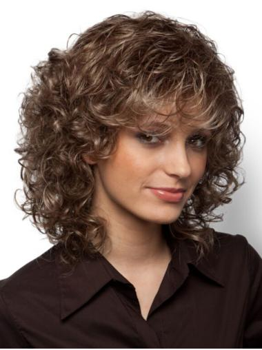 With Bangs Brown Curly Monofilament Wigs