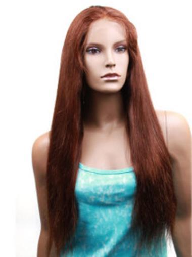 Long Auburn Remy Human Hair Wigs