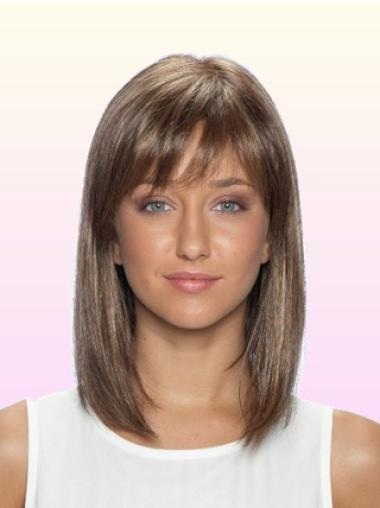 Medium Brown Lace Front Indian Remy Hair Wigs