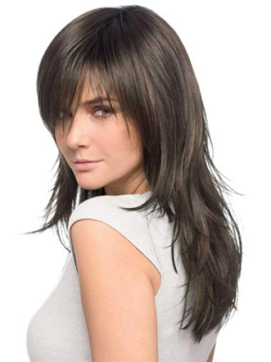 Long Brown Straight Human Hair Wigs