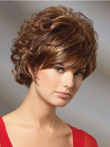 Short Auburn Curly Human Hair Wigs