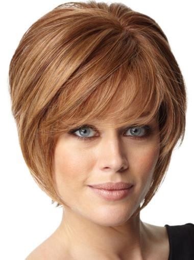 Short Auburn Straight Human Hair Wigs