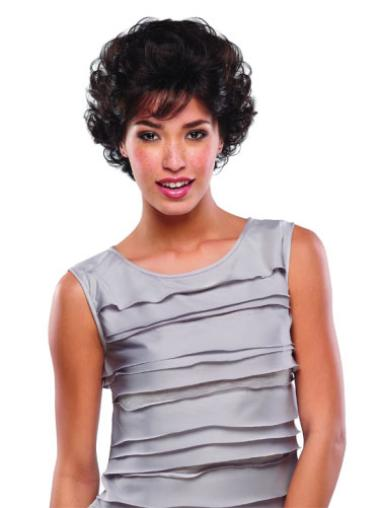Short Brown Curly Human Hair Wigs