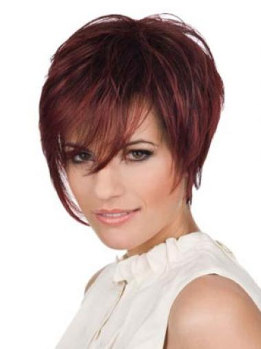 Short Red Straight Lace Front Human Hair Wigs