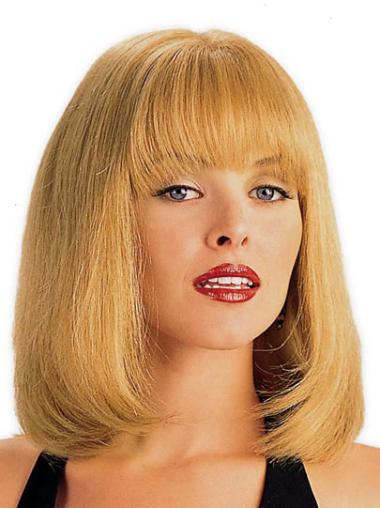 Blonde Straight Monofilament Human Hair Wigs