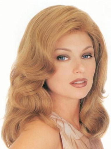 Blonde Wavy Monofilament Human Hair Wigs