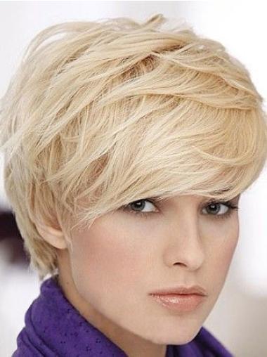 Short Blonde Straight Human Hair Wigs