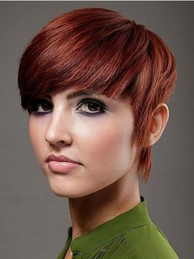 Short Red Straight Human Hair Wigs