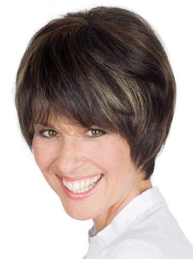 Short Brown Straight Lace Front Human Hair Wigs