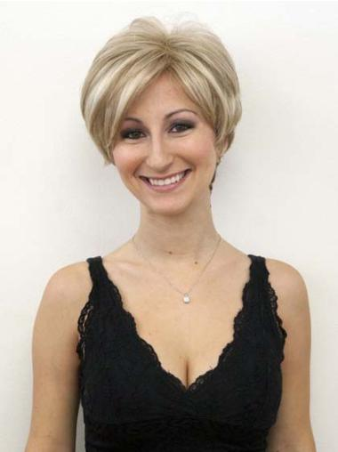 Short Blonde Wavy Lace Front Human Hair Wigs