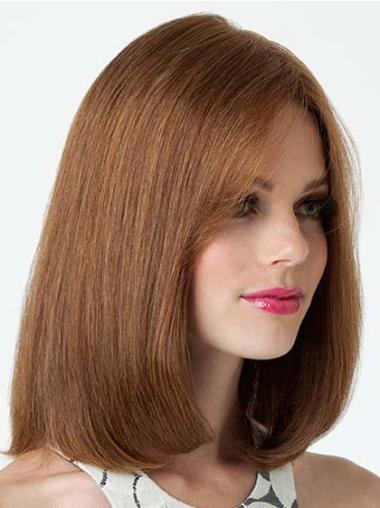 Medium Brown Straight Lace Front Human Hair Wigs