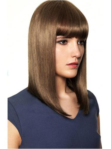 Medium Brown Straight Human Hair Wigs