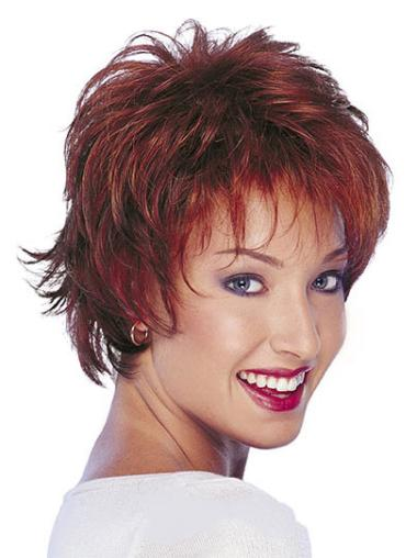 Short Red Wavy Human Hair Wigs