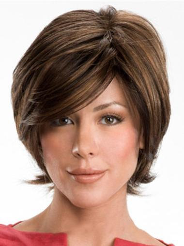 Short Brown Wavy Human Hair Wigs