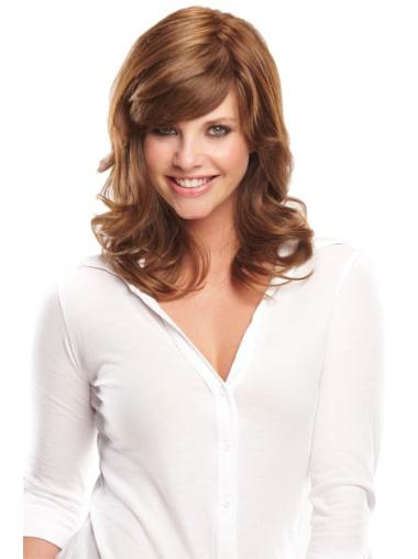 Medium Brown Wavy Monofilament Real Hair Wigs