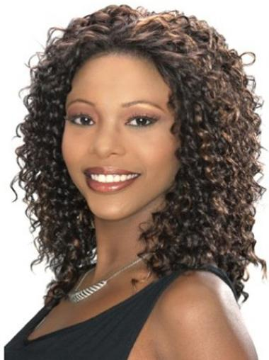 Curly Brown Lace Front Synthetic African American Wigs