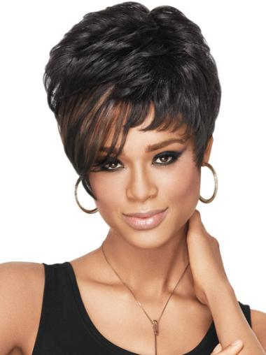 Cheap Black Wavy Synthetic African American Wigs