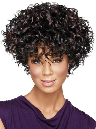Short Black Curly Synthetic African American Wigs