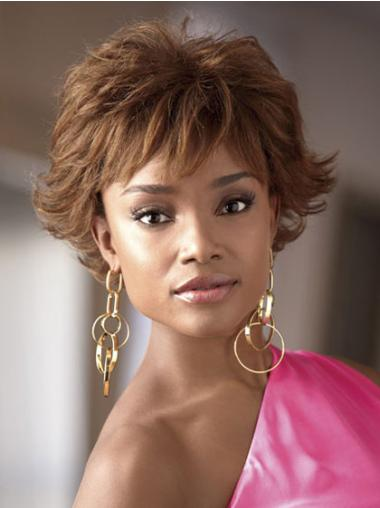 Short Brown Wavy African American Wigs
