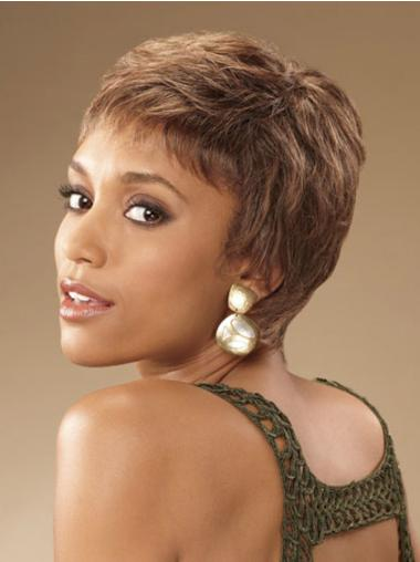 Short Brown Curly African American Wigs