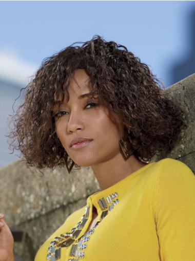 Brown Curly Lace Front Synthetic African American Wigs