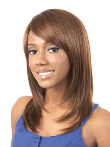 Shoulder Length Blonde Straight African American Wigs