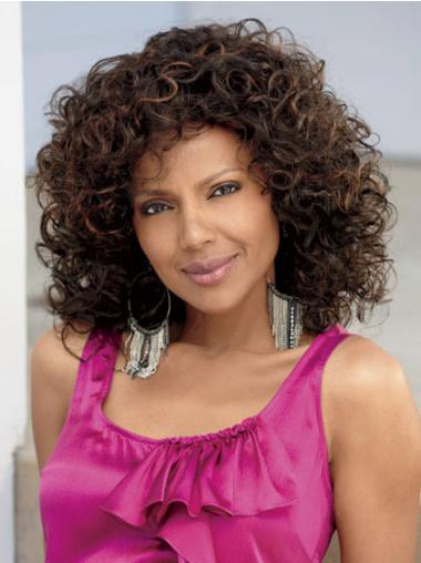 Brown Curly Synthetic African American Wigs