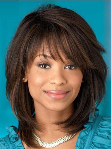Straight Synthetic Shoulder Length Affordable African American Wigs
