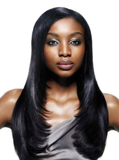 Long Black Straight African American Wigs