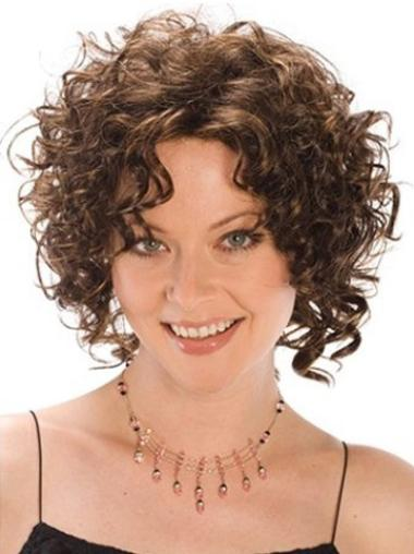 Style Chin Length Brown Curly Synthetic Wigs