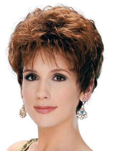 Trendy Short Brown Curly Synthetic Wigs