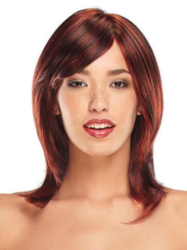 Modern Shoulder Length Red Synthetic Wigs
