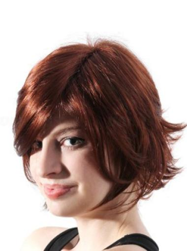 Style Chin Length Auburn Wavy Synthetic Wigs