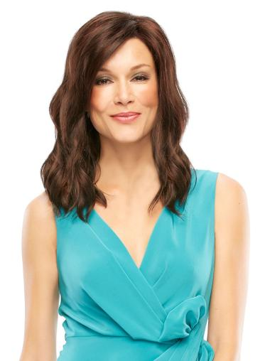 Brown Wavy Lace Front Synthetic Long Wigs