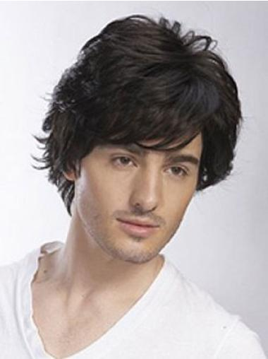 Soft Hand-tied Remy Human Hair Men Wigs