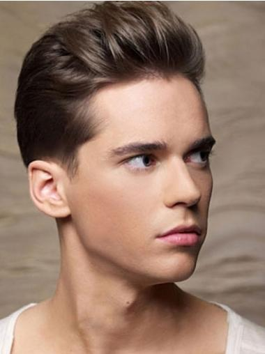 Straight 100% Hand-tied Remy Human Hair Men Wigs