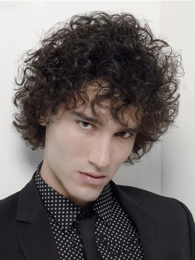 hort Black Curly Synthetic Men Wigs