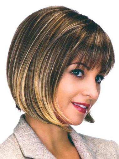 Brown Straight Synthetic Bob Wigs