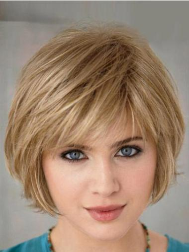 Short Blonde Straight Synthetic Bob Wigs