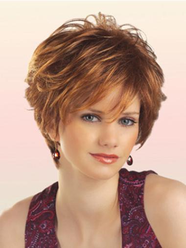 Style Auburn Wavy Synthetic Short Wigs