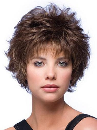 Good Brown Wavy Synthetic Short Wigs