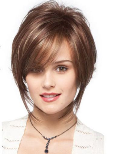 Graceful Brown Wavy Synthetic Short Wigs