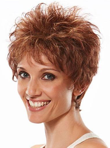 High Quality Auburn Wavy Synthetic Short Wigs